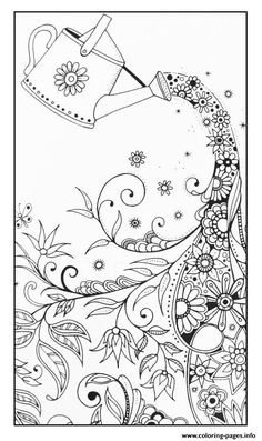 Adult Magical Watering Can Coloring Pages Printable And Book To Print For Free Find More Online Kids Adults Of