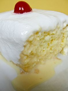Tres Leches - Three-Milk Cake This is my dad's favorite cake my mom makes makes it for his birthday every year.