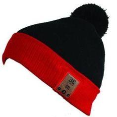 Behead Wear Wireless Headphone Speaker Microphone Beanie Hat Fiendish - Retail Packaging - Midnight/Red BE Headwear