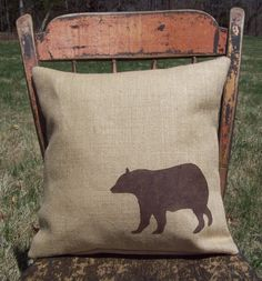 Bear Pillow Cover 16 x 16 - Burlap Pillow Cover - Decorative Pillow - Cabin and  Lodge Decor