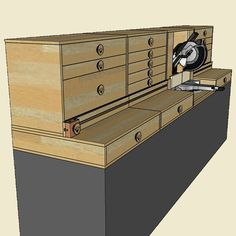 Plans Include: Single PDF document 34 detailed pages Full shopping/parts list Full parts list with dimensioned parts 3d renderings Link to build videos Plywood layout diagram for all cuts… Woodworking Software, Woodworking Shop Layout, Woodworking Books, Woodworking Workshop, Woodworking Projects, Woodworking Store, Mitre Saw Bench, Miter Saw Table, Shop Organization