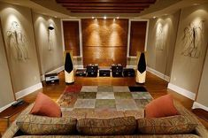 beautiful listening room pics with treatment What compromises one can live with usually is dependent upon budget and room location. The perfect listening room permits a number of the very first r… Audiophile Music, Hifi Stereo, Sound Room, Separating Rooms, Home Studio Music, Audio Studio, Home Speakers, Audio Room, Home Theater