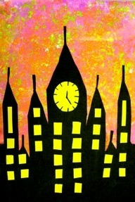 Spectacular Skies    Silhouetted Landscapes or Cityscapes using Hand-Marbled Paper 3rd