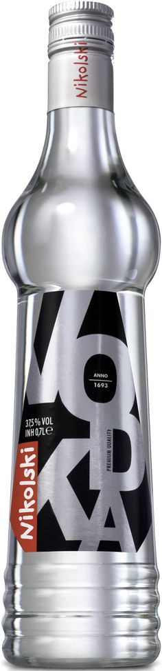 Nikolski Vodka's unique bottle shape and fun typographic label. Water Packaging, Beverage Packaging, Bottle Packaging, Alcohol Bottles, Liquor Bottles, Vodka Bottle, Wine And Liquor, In Vino Veritas, Glass Containers