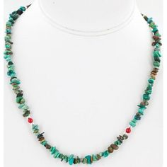 $200 Retail Tag-AUTHENTIC-Charlene Little-Navajo-.925 Sterling Silver-KINGMAN Turquoise and Coral-Chain-Necklace All Products Charlene Little 371101945516 (by www.Native-Bay.com)