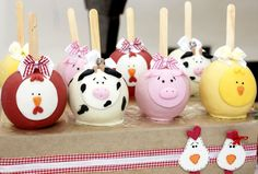 Chocolate Covered Apples for a Farm Party