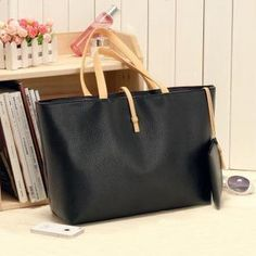 Free Shipping Black Leather Fashion Luxury Lady Ladies Women Woman Girl Girls Shoulder Handbag Bag Dropshipping Wholesale--- usd9.99