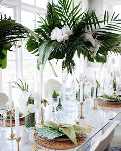 """166 Likes, 6 Comments - Bridal, Bridesmaids & Formal (@goddessbynature) on Instagram: """"All white with a touch of tropical lush. We love this table styling!"""""""