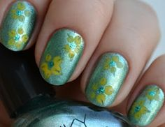 spring, flowers, green, yellow,  #nail #art #manicure