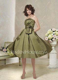 Bridesmaid Dresses - $94.99 - Nice A-Line/Princess Strapless Knee-Length Taffeta Bridesmaid Dress With Ruffle (007004119) http://jenjenhouse.com/pinterest-g4119