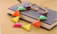 Multicolor triangle statement Necklace, Bib Necklace, Choker Necklace,
