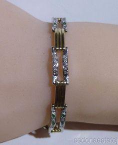 Tennis Diamonds Emeralds Bracelet 14k Solid Gold Link Bracelet All Pave Set #Handmade #Cluster #14KGold #emeraldbracelet