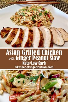 Asian Grilled Chicken with Peanut Ginger Slaw – Keto and Low Carb It's summer and that means it's time to grill! Chicken breasts in an Asian marinade is grilled to juicy perfection and served along side an Asian slaw. The slaw has the bold flavors of a Asian Marinade For Chicken, Asian Grill, Marinated Grilled Chicken, Grilled Chicken Recipes, Grilled Meat, Keto Chicken, Asian Chicken, Peanut Chicken, Ginger Chicken