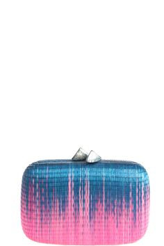In the mood for colour. Bruna Ombre Clutch, straw handmade hard case clutch with mother of pearl clasp. Gorgeous