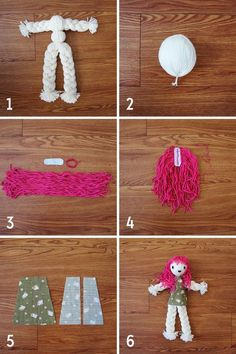 diy braid doll pattern tutorial My mom showed me how to do this when I was little but I forgot all about it. This would be great Stevens we need to do this with Kk. Doll Crafts, Diy Doll, Yarn Crafts, Yarn Dolls, Wool Dolls, Operation Christmas Child, Diy Braids, Pom Pom Crafts, Yarn Projects