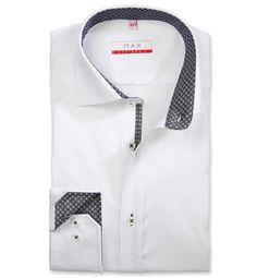 Modern Fit polopriliehavá košeľa Biela jednofarebná 100% bavlna Tvil (keper)