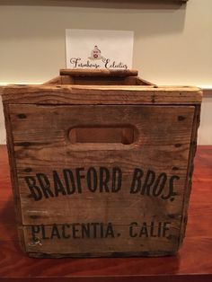 Wooden Crates, Vintage Crates, Wooden Boxes, Old Farm Fruit Crates, Wood Crates, Wood Box, Bradford Brothers Fruit Packing Box from Placentia, California - Advertising Crate, Wooden Crate  This is an old Bradford Bros Fruit Packing Crate from Placentia, CA. Bradford Brothers packing-house opened for business in 1922. It was in use until the 1970s. This crate is most likely from the early days of the business. This vintage crate is in great shape and it is really large. Great handles and…