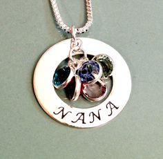 Hand Stamped Mommy Grandmother Nana Necklace by ForeverHeartPrints, $59.00 (perfect for mom for mothers day with all the grandkids birthstones inside)