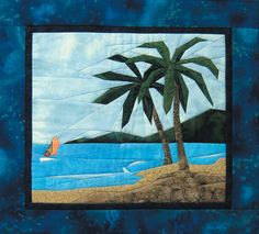 Tropical Scene - NEW Form of Foundation Paper Piecing (Picture Piecing) Pattern - x Quilt Block Tropical Quilts, Hawaiian Quilts, Paper Piecing Patterns, Quilt Patterns, Landscape Art Quilts, Landscapes, Beach Quilt, Foundation Paper Piecing, Applique Quilts