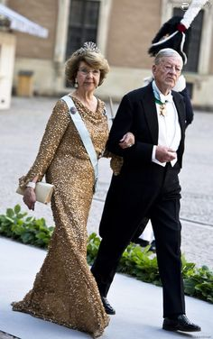 """King Carl Gustaf of Sweden's sister Princess Désirée and her husband Baron Nils-August Silfverschiöld arrive at the Royal Chapel for the wedding ceremony; wedding of Princess Madeleine of Sweden and mr. Christopher """"Chris"""" O'Neill, June 8th 2013"""