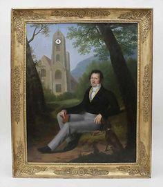 Bilderuhr/Picture Clock, Frankreich, Rosalie Caron, 1824 Vollplatinengehwerk mit Fadenaufhängung un