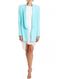 Ellery Duchamp classic tux jacket in eye popping aqua #bright #aqua #tuxedo #blazer #style #ellery