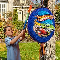 Get the birthday star and friends racing at top speed towards this Hot Wheels Piñata!