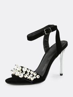 e1bbf52fae3 Pearl Velvet Stiletto Heels BLACK -SheIn(Sheinside) Prom Heels