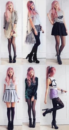 The pink hair, the shoes, the different styles all still somehow cohesive... Very good fashion choices, whether her's or a stylist. xo