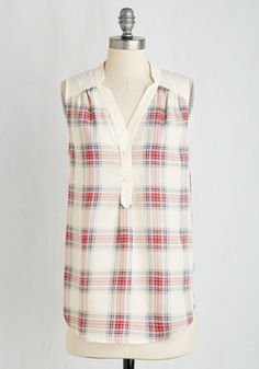 Girl About Easton Tunic in Ivory Plaid. From the office to your favorite cocktail-sipping spot, you entertain others in the effortless style of this breezy, ivory top. #multi #modcloth
