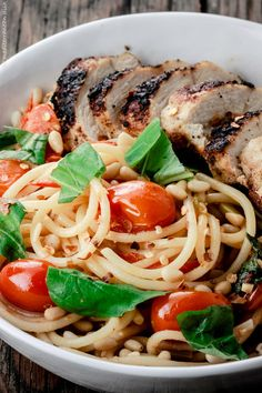 Blackened Chicken and Spaghetti Recipe with Tomato-Basil Wine Sauce. Made with a light citrus wine sauce, fresh grape tomatoes and herbs.