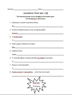Printables Ir A Infinitive Worksheet spanish ir a infinitive worksheet expressions with infinitives on the tener que structure if you are working with