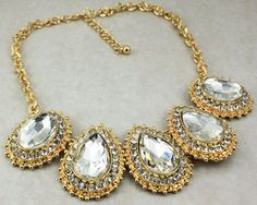 Stassi Schroeder Inspired Chunky Jewel Necklace in Clear