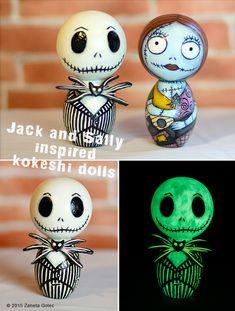 Jack and Sally inspired kokeshi by Zaneta Golec by ZanetaGc.deviantart.com on @DeviantArt