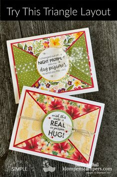 Learn how to use digital stamps for easy greeting cards. These greetings and images come from a print & cut file; use punches, scissors or dies to cut out Card Making Tutorials, Card Making Techniques, Making Ideas, Fancy Fold Cards, Folded Cards, Triangles, Stamping Up Cards, Greeting Cards Handmade, Easy Handmade Cards
