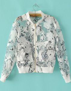 White Stand Collar Long Sleeve Sheer Organza Jacket - Sheinside.com