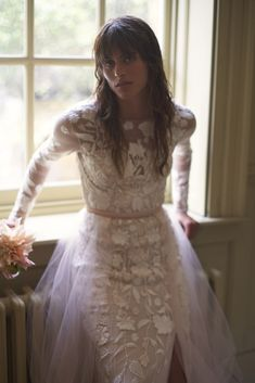Hand embroidered, bespoke wedding dress with a silk tulle overskirt. Hermione, Bridal Skirts, Wedding Dresses, Occasion Wear, Bodice, Tulle, Flower Girl Dresses, Gowns, Couture