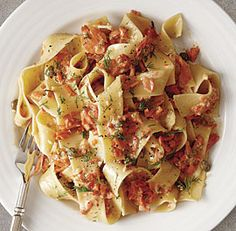 Pappardelle with Creamy Smoked Salmon, Caper, and Dill Sauce - Fine Cooking Magazine (December 2014-January 2015). This would be amazing tweaked - use zucchini ribbons and sub out some (if not all) of the heavy cream with 2% Greek yogurt.