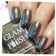 Gradient nails with Glam Polish Comet Storm, Dreamscape, Star Shadow and Eternity Dragon, multichrome flakie polishes from the Fantasia Flakies Series, More swatches and review here: http://www.alacqueredaffair.com/Glam-Polish-Fantasia-Flakies-36352152