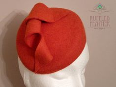 Burnt orange wool felt pillbox hat by TheRuffledFeatherBou on Etsy