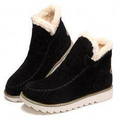 watch f415b 0cd16 Big Size Pure Color Warm Fur Lining Winter Ankle Snow Boots For Women   snowboots Summer