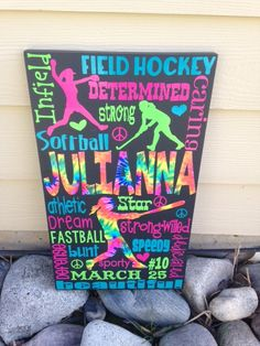Personalized Wooden Teen Softball and Field Hockey Sign  vinyl