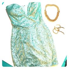 NYE Baby Blue Sequin Dress Super cute, never worn but no tag. Perfect for New Year's Eve! Dresses