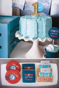 plane themed party cookies and first birthday candle