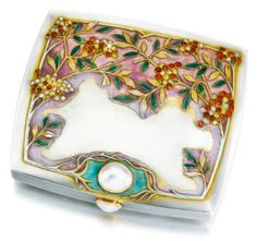 A jewelled silver and enamel cigarette case, Bolin, Moscow, 1899-1908 In Art Nouveau taste, the lid cast and chased with sprays ofpyracantha set with rose-cut diamonds on an opaque mauve ground, the lower lid and thumbpiece set with pearls;  sold  12,500 GBP;  28/11/17.  ||| sotheby's l17116lot9mgwlen