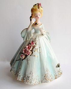 Josef Original Lady Talking On Telephone Figurine Collectible Pale Blue