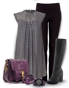 A Simple Look for 2014, loose print blouse, black skinnies and knee-length boots