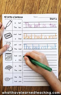 Short A Phonics Worksheets that give students practice read and write short a CVC words. This worksheet has students read four words on a line and arrange the words into a sentence. Student write these sentences. First Grade Reading, Student Reading, Homeschooling First Grade, First Grade Art, First Grade Phonics, Kindergarten Worksheets, In Kindergarten, Kindergarten Language Arts, Phonics Worksheets