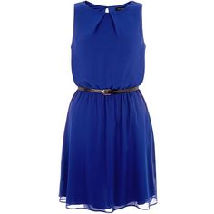 Dark Blue Chiffon Belted Dress (£20) ❤ liked on Polyvore featuring dresses, vestidos, blue, sleeveless dress, mini dress, short chiffon dress, short blue dresses and blue cocktail dress