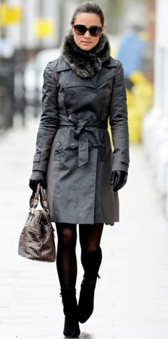 Look of the Day › December 21, 2011 WHAT SHE WORE Middleton made a chic work commute in a gray trench, accented with a plush scarf, croc bag and ankle boots.
